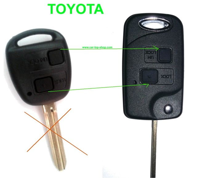 Toyota umbau satz klappsch ssel geh use 2 tasten schl ssel for Schlussel im auto vergessen